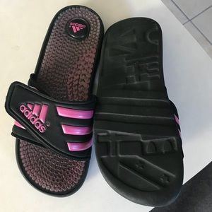 adidas Shoes - Adidas Adissage Pink Black Womens Slides